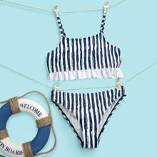 Girls Striped Frill Trim Bikini Swimsuit