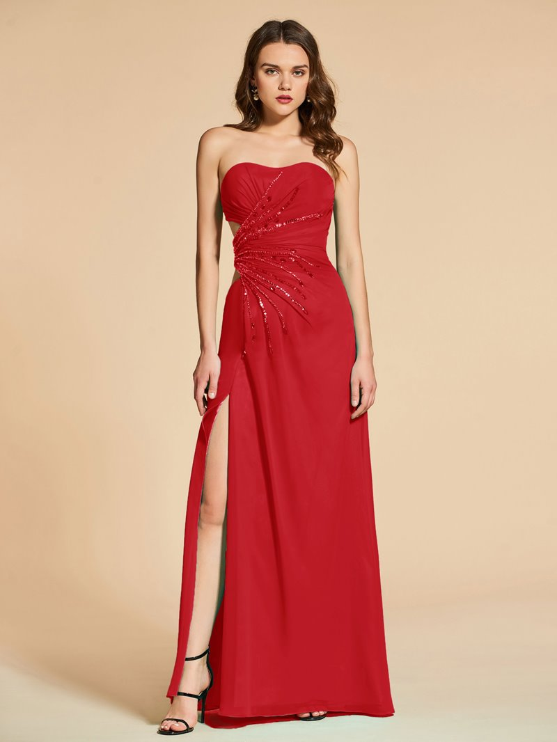 Ericdress A Line Strapless Beaded Long Evening Dress With Side Slit