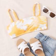 Geripptes Bikini Top mit tropischem Muster
