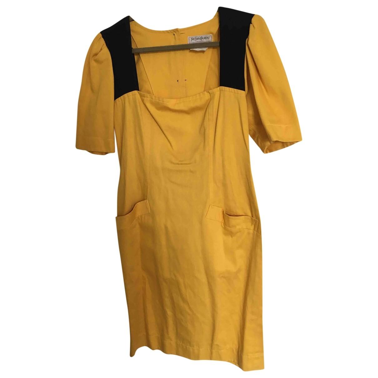 Yves Saint Laurent \N Kleid in  Gelb Baumwolle