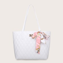 Bolsa tote guateada con diseño de pañuelo twilly