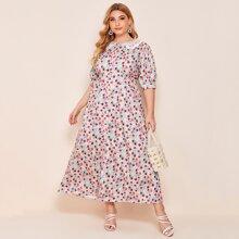 Kleid mit Kontrast Kragen, Knopfen vorn und Blumen Muster