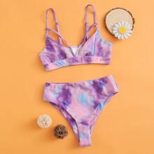Girls Tie Dye Harness Bikini Swimsuit