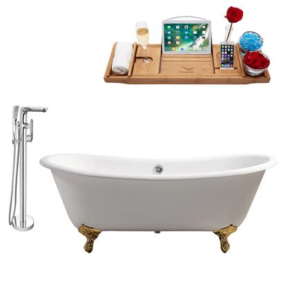 RH5240GLD-CH-120 71 Oval Shaped Soaking Clawfoot Tub With 66 Gallons Capacity  Vintage Style  Enamel And Cast Iron Construction  And Floor Mounted