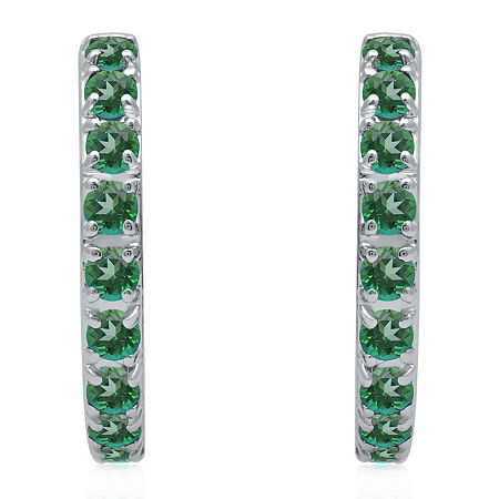 Marvel Universe Fine Jewelry By Marvel Genuine Green Topaz Sterling Silver 4.7mm Marvel Hoop Earrings, One Size , No Color Family