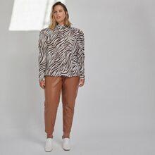 Bluse mit Gigot Ärmeln und Zebra Streifen