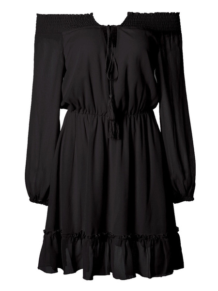 Milanoo Summer Dress Off The Shoulder Short Beach Dress