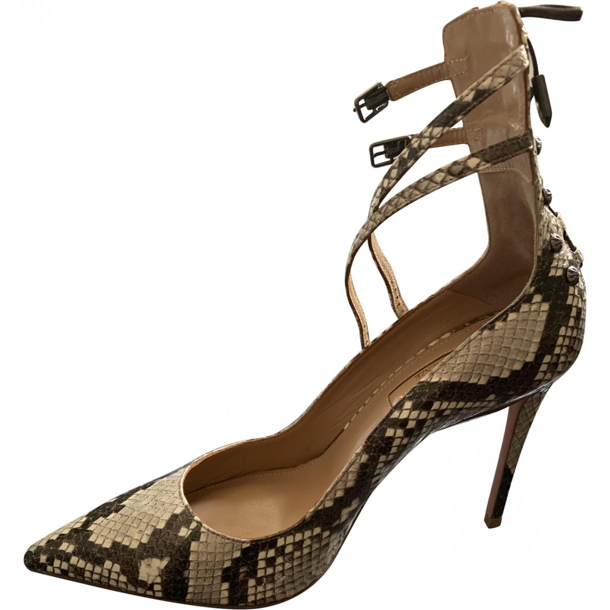 Aquazzura \N Beige Water snake Heels for Women 37 EU