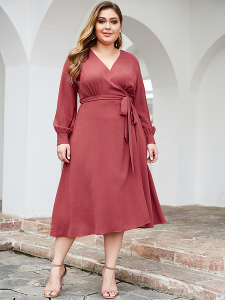 YOINS Plus Size Pink With Belt V Neck Long Sleeves Dress