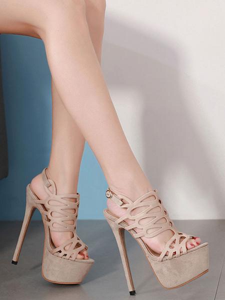 Milanoo Women Sexy Sandals Suede Platform Open Toe Cut Out Stiletto Heel Sandal Shoes