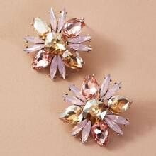 1pair Gemstone Decor Flower Stud Earrings