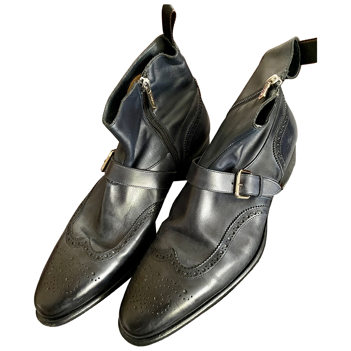 Santoni \N Stiefel in  Schwarz Leder