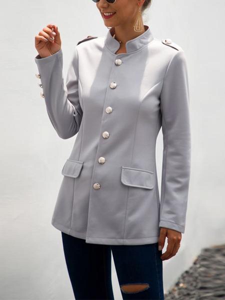 Yoins Grey Button Design Stand Collar Long Sleeves Blazer