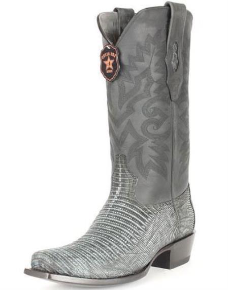 Men's Los Altos 7 Toe Genuine Teju Lizard Sanded Black Leather Boots