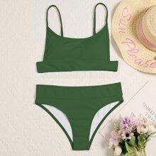 Solid Rib Bikini Swimsuit