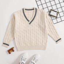 Girls V-neck Striped Cricket Sweater