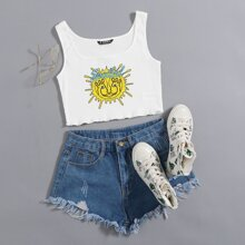 Letter and Graphic Print Lettuce Edge Crop Tank Top