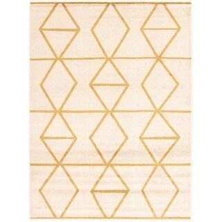 ECARPETGALLERY Ana Moroccan Rug (7'10 x 10'2 - Ivory/ Gold)