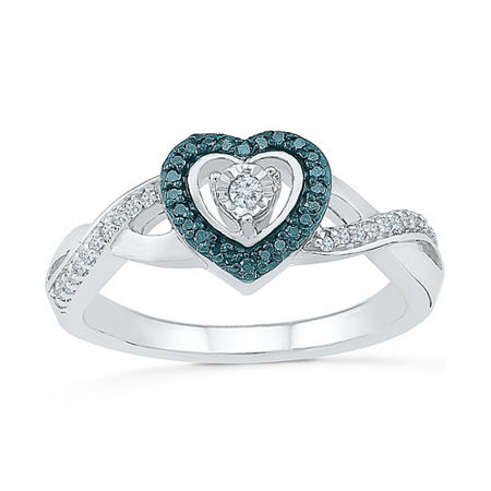 Promise My Love Womens 1/6 CT. T.W. Genuine Multi Color Diamond Sterling Silver Heart Promise Ring, 7 , No Color Family