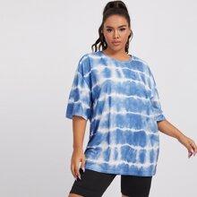 Langes T-Shirt mit sehr tief angesetzter Schulterpartie und Batik