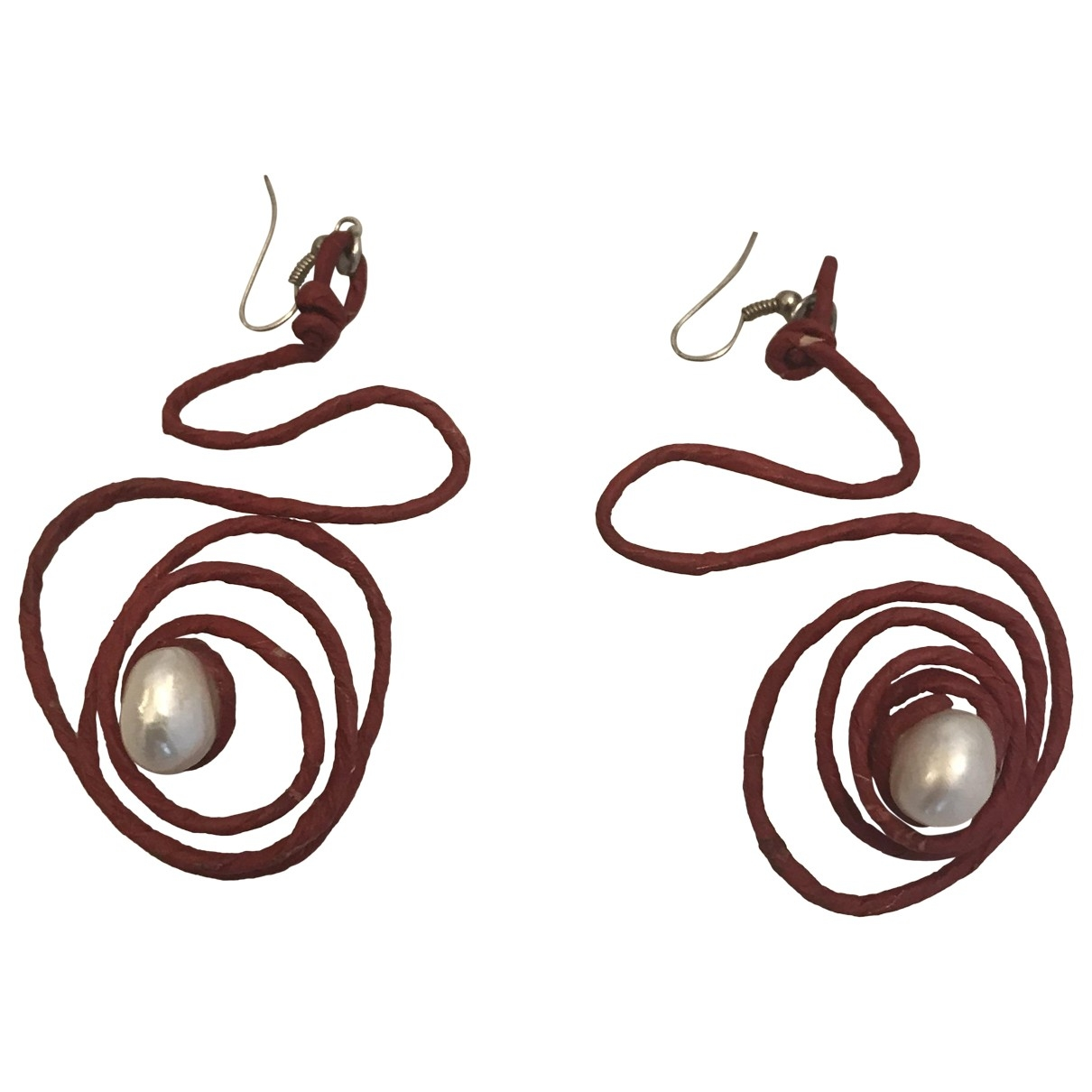 Non Signé / Unsigned \N Red Pearl Earrings for Women \N