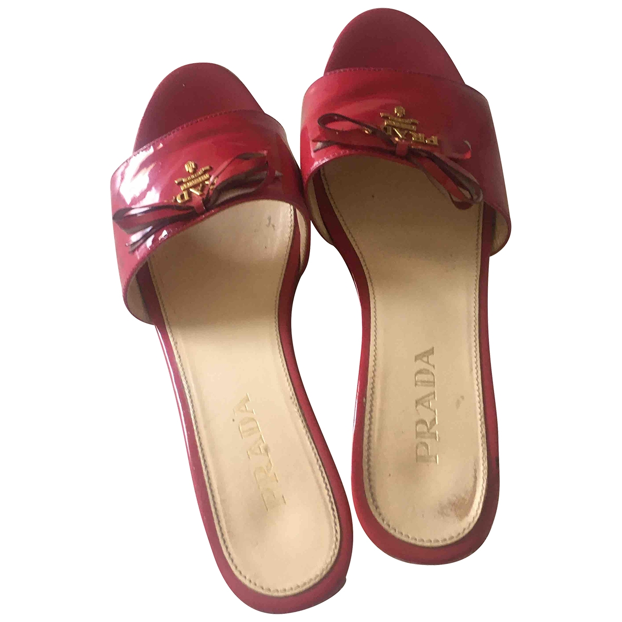 Prada \N Pink Patent leather Mules & Clogs for Women 35.5 EU