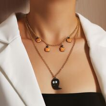 Halloween Pumpkin & Ghost Charm Layered Necklace