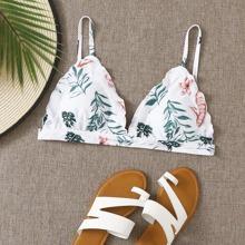 Dreieckiges Bikini Top mit Pflanzen Muster und gekraeuseltem Saum