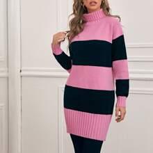Jersey de color combinado de cuello embudo