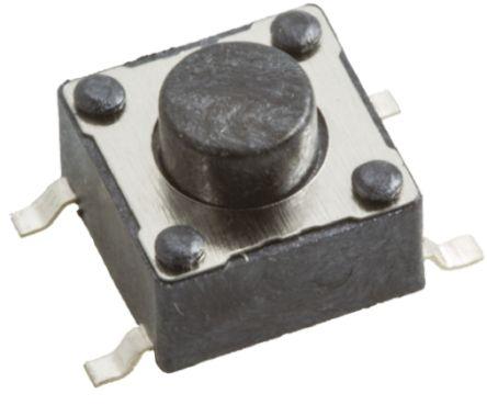 Wurth Elektronik Black Tactile Switch, Single Pole Single Throw (SPST) 50 mA @ 12 V dc 1.6mm Surface Mount