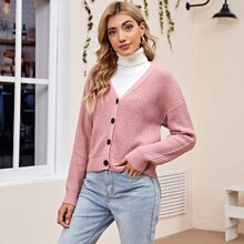 Button Front Drop Shoulder Cardigan