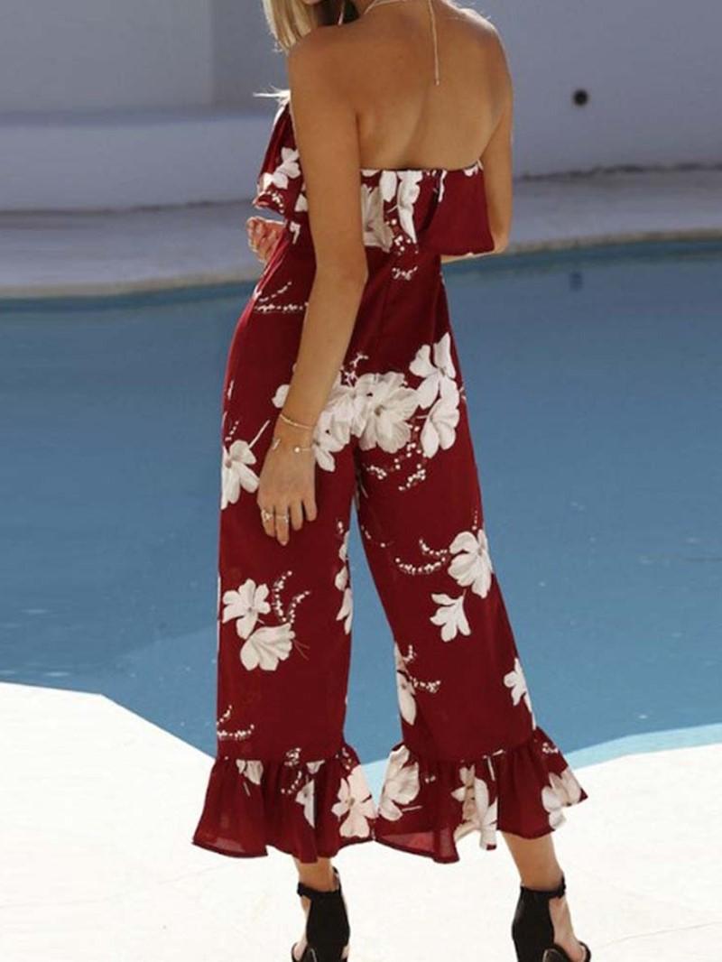 Ericdress Floral Print Bellbottom Slim Jumpsuit