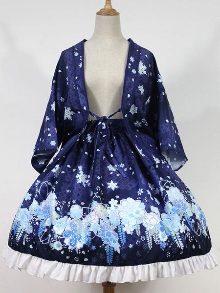 Milanoo Classic Lolita Skirt The Snow Girl In Haunted Night Neverland Floral Print Ruffles Pleated Royal Blue Lolita Skirt Original Design