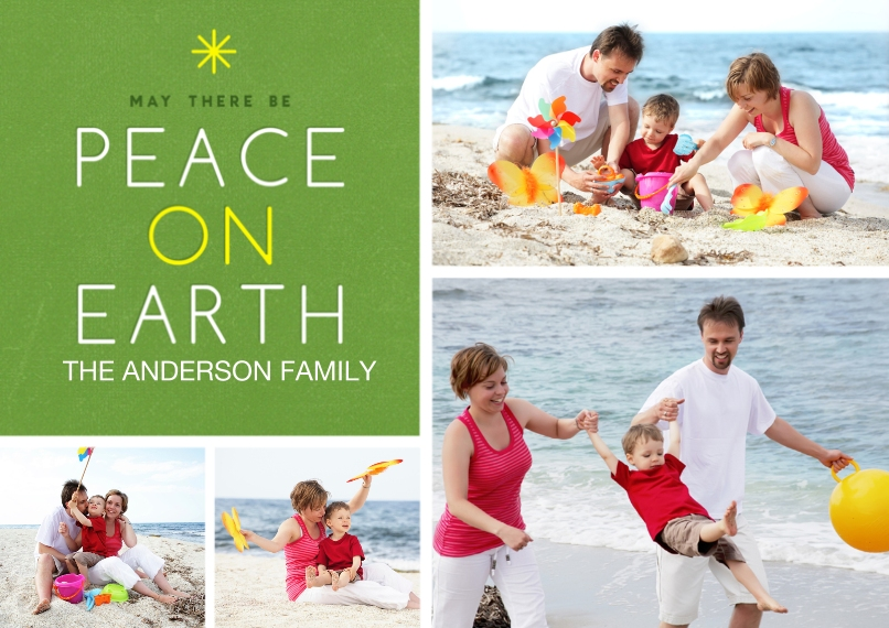 Christmas Photo Cards 5x7 Cards, Premium Cardstock 120lb with Scalloped Corners, Card & Stationery -Modern Peace on Earth