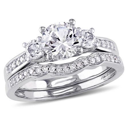 Lab Created White Sapphire & 1/7 CT. T.W. Diamond 10K White Gold Bridal Set, 8 , No Color Family