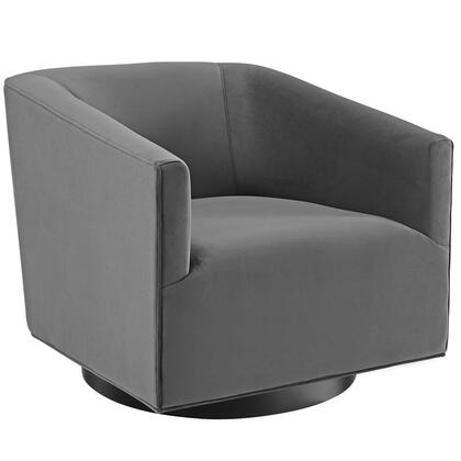Twist Collection EEI-3456-GRY Accent Lounge Performance Velvet Swivel Chair in Grey