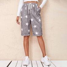 Shorts con estampado de estrella con bolsillo bajo de doblez