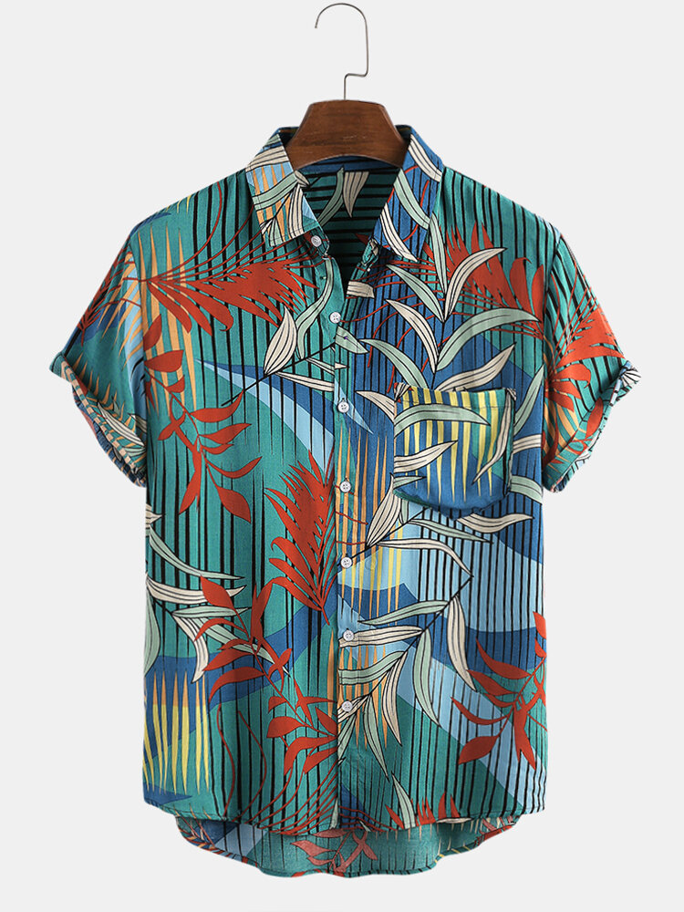 Mens Plant & Leaf Floral Print Breathable Short Sleeve Shirts