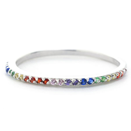 Silver Treasures Pave Rainbow Stackable Sterling Silver Round Band, 8 , No Color Family