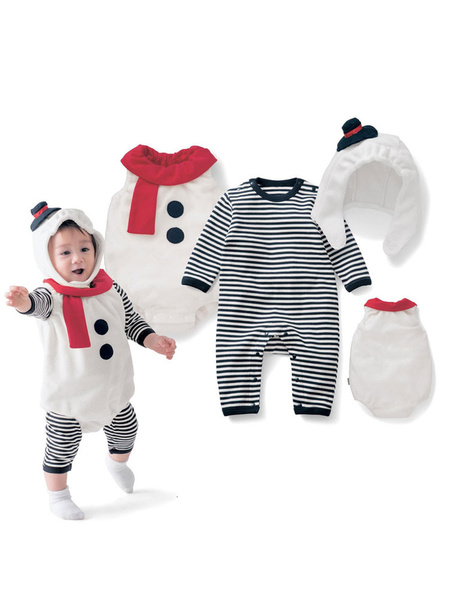 Milanoo Baby Christmas Pajamas Outfits Striped Snowman Kids Rompers 3 Piece Halloween