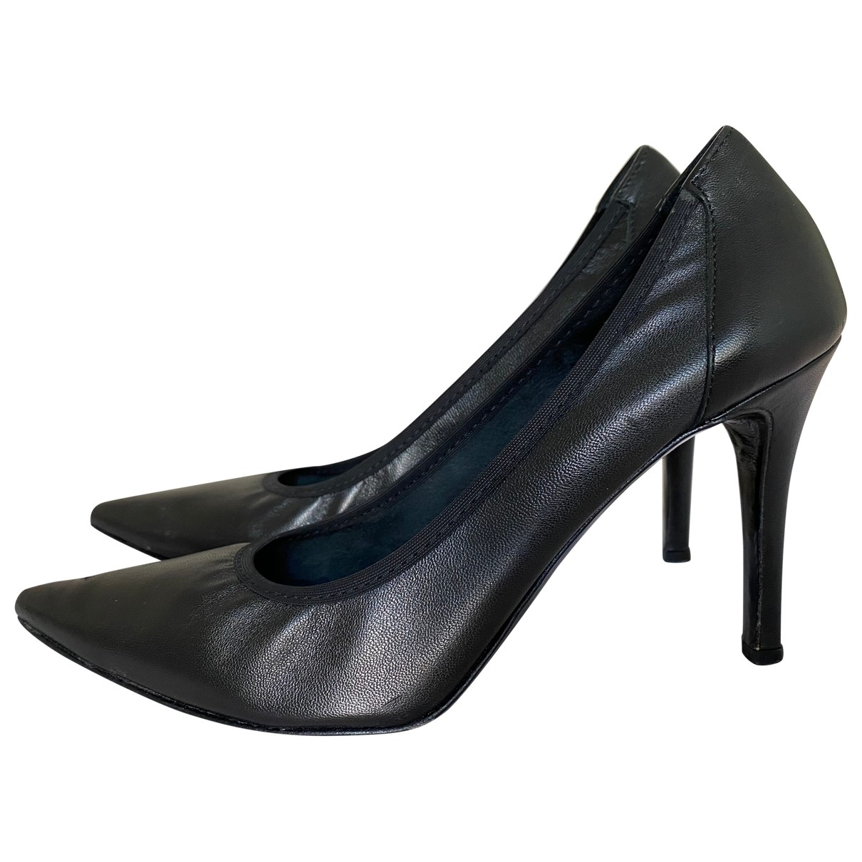 Non Signé / Unsigned \N Black Leather Heels for Women 37.5 IT