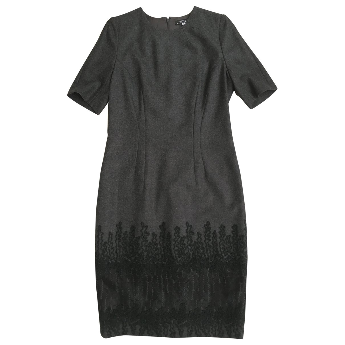 Andrew Gn \N Anthracite Wool dress for Women 38 FR
