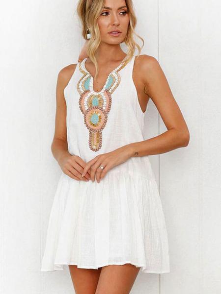 Milanoo White Summer Dresses Boho Dress V Neck Buttons Printed Strapes Mini Skater Dress