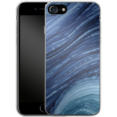 Apple iPhone 8 Silikon Handyhuelle - Blue Agate Crystal Slice von Becky Starsmore