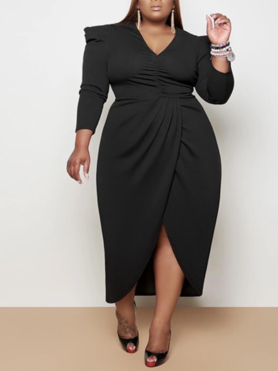 LW Lovely Formal Ruffle Design High Split Black Ankle Length Plus Size Dress