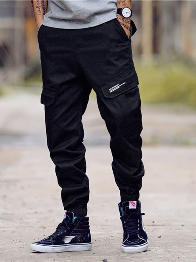 Ericdress Letter Printed Straight Zipper Mens Casual Pants