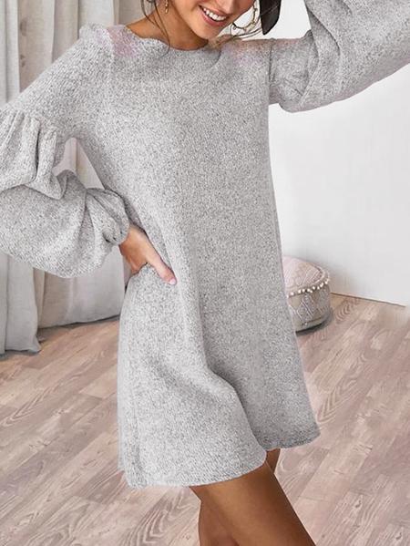 Yoins Grey Lantern Sleeves Dress