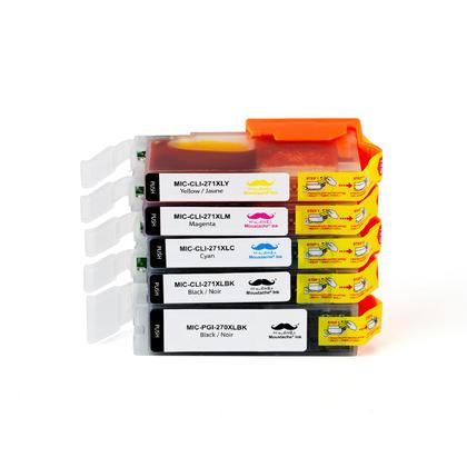 Compatible Canon PIXMA TS5000 cartouches encre PGBK+BK/C/M/Y de Moustache, ensemble de 5 - haut rendement