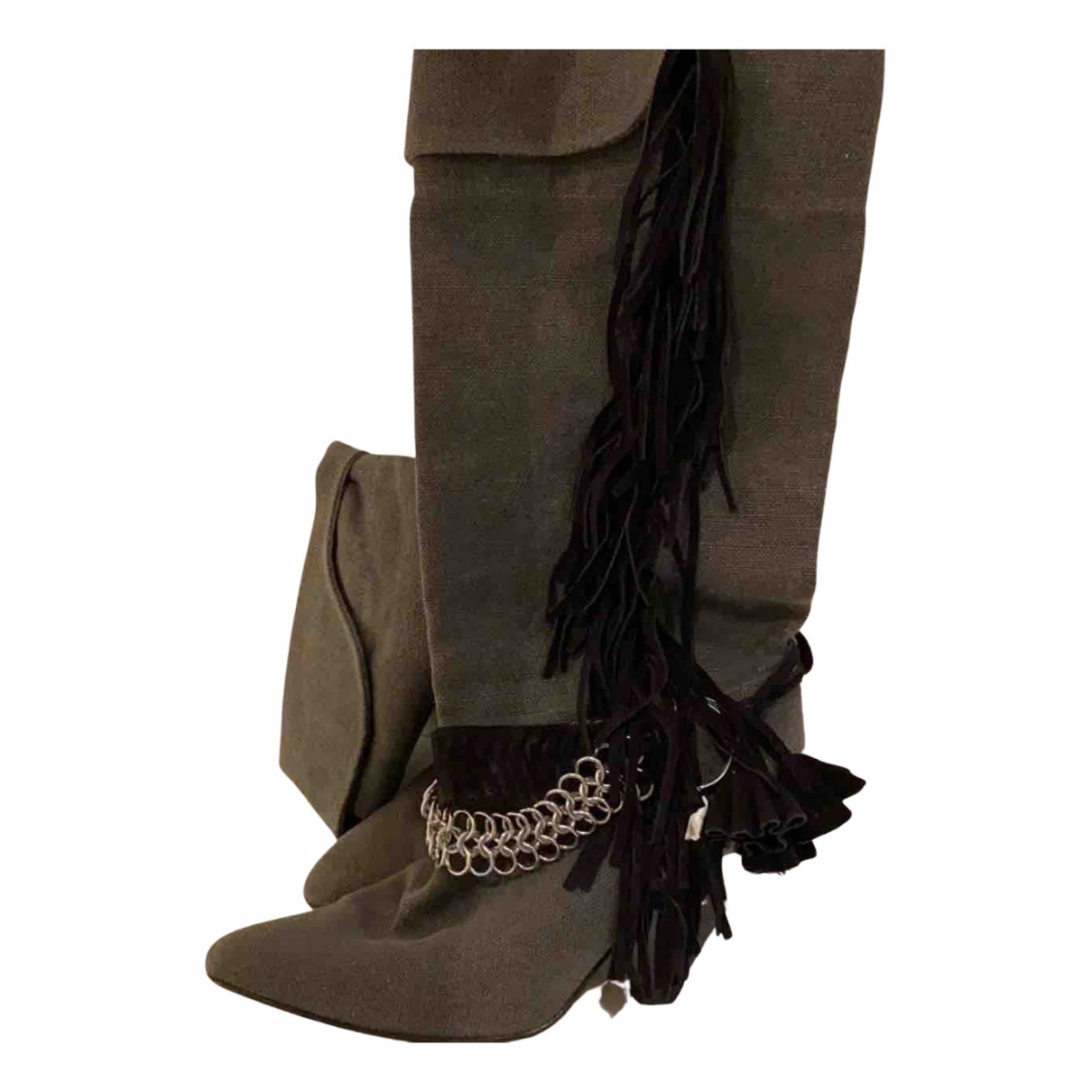 Isabel Marant N Khaki Suede Boots for Women 38 EU