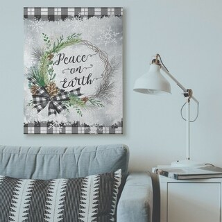 Stupell Industries Peace On Earth Wreath Plaid Holiday Christmas Word Design Canvas Wall Art, Proudly Made in USA (36 x 48)
